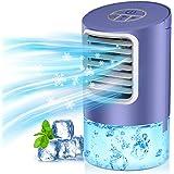Climatiseur Portable, Personnel Refroidisseur d'air, 3 en 1 Ventilateur & Humidificateur & Refroidisseur, Minuterie 2/4H, 3 V