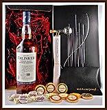 Geschenk Set Talisker 10 Jahre Whisky + Flaschenportionierer + 10 Edel Schokoladen von DreiMeister & DaJa + 4 Whisky Fudge, kostenloser Versand