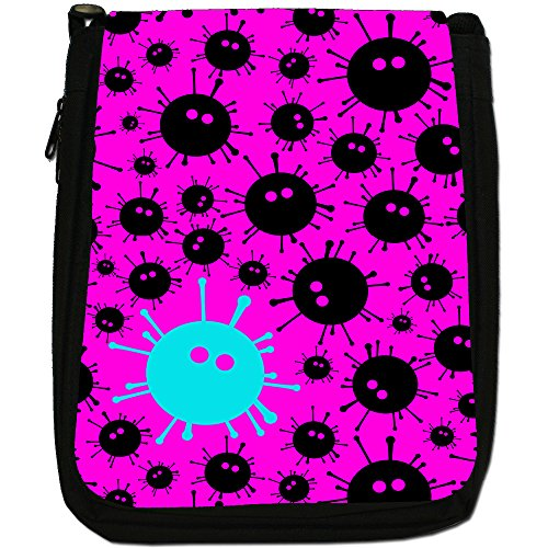 Virus, colore: nero Monsters, taglia: M, colore: nero, Borsa a spalla in tela da uomo, taglia media Nero (Pink Black Monsters)