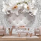 murando - Fototapete Blumen Lilien 350x256 cm - Vlies Tapete - Moderne Wanddeko - Design Tapete - Wandtapete - Wand Dekoration - Ornament Leder Optik b-C-0212-a-b