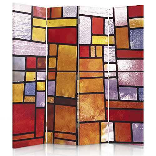 Feeby Frames Canvas Screen, Decorative Room Divider, Paravent, Double sided, 4 panels (145x180 cm) ABSTRACTION, GEOMETRIC, STAINED GLASS, ORANGE, RED