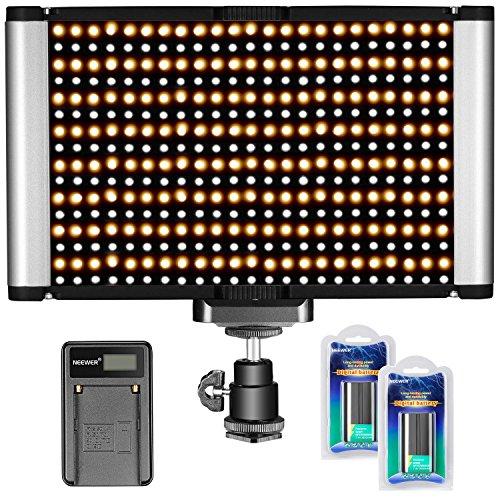 Neewer Dimmable Kamera Video Light Kit: Bi-Color 280 LED Panel CRI 96+ 3200-5600K, 2 Wiederaufladbare Li-Ionen-Akku und USB-Ladegerät für DSLR Kamera Foto Studio Fotografie, YouTube Video Shooting