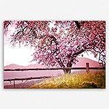 ge Bildet Hochwertiges Leinwandbild XXL Pflanzen Bilder - Frühlingsbaum - Natur Baum Rosa Pink - 120 x 80 cm Einteilig | Wanddeko Wandbild Wandbilder Wohnzimmer deko Bild | 2207 A