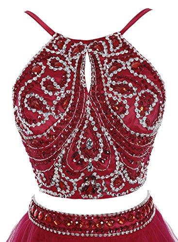 Bbonlinedress Robe de cérémonie Robe de bal asymétrique deux pièces longueur ras du sol Pourpre