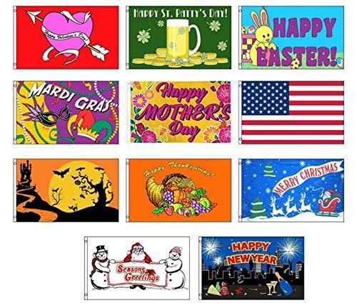 Seasonal Urlaub Haus und Garten Deko Flagge Bundle-Größe 3X 5, Polyester, All Seasons, No Pole, 3x5 (Garden Flags New Jahren)