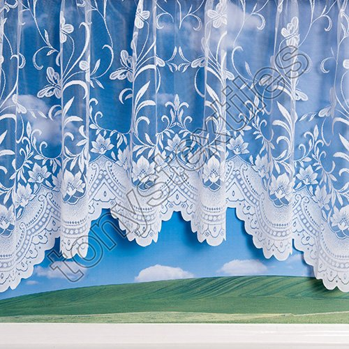 Tony's Textiles New Butterfly Floral Spring Jardiniere Net Curtain Panel 200″ x 54″ (508 x 137cm) White