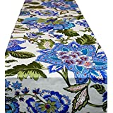 Agasvi Cotton Table Runners Blue Multi Color Floral Printed 48x13 Inches