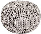 Sitzpuff Sitzhocker Bodenkissen ver. Farben Ø 55 cm Baumwolle handgeknüpft (beige ( BE ))