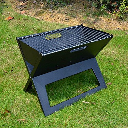 TY&WJ Notebook Holzkohlegrill,Faltbar Tragbarer Grill Outdoor Abkochen Bbq Für Camping Wandern Barbecue Werkzeug - Schwarz 45x30x36cm(18x12x14inch)