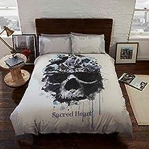 Sacred Heart Bettwäsche Bettbezug und Kissenbezüge Set Gothic Totenkopf, mehrfarbig, Single