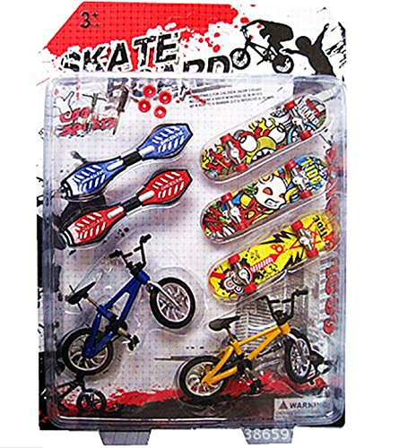 Autone 8-tlg. Spielzeugset für Kinder Fingerboard, -bike & -skateboard, Tolle Geschenkidee