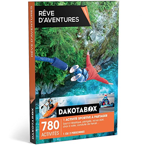 DAKOTABOX - Coffret Cadeau - RÊVE D'AVENTURES - 780 activités : 1 activité sportive à partager : saut à l'élastique, plongée, vol en ULM, char à voile, conduite de Ferrari…