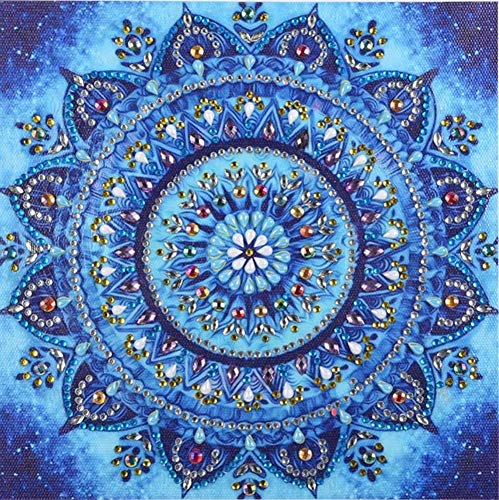 Diamant-Gemälde DIY 5D Special Shape Strass ABEUTY Red Mandala Floral Blumen Teil-Bohrer Kristall Diamant Dotz Kits blau