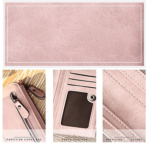 Woolala Cuoio Donne Pu Portafoglio Compatto Per Contanti, Carte, Cambio Dell'Organizzatore Del Supporto Piccola Borsa Con Cerniera Monete Titolare, Vino Rosso Pink Forever