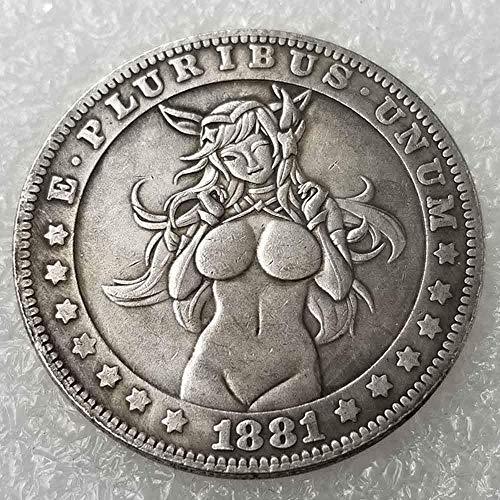 DDTing Best Morgan US Dollar Münzen - 1881 Old Hobo Nickel Münze - Old Coin Collecting-US Dollar USA Old Morgan Dollar - überzogen US Old Coin goodService -