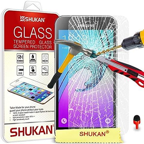 Samsung Galaxy J3 Temperato Bicchiere Cristallo Pulire LCD Schermo protettore Guardia & Lucidatura Stoffa ROSSO (Telefono Guardia Schermo Custodia In Silicone)