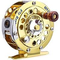 Shuzhen,Metal Fly Reel Fishing Tackle Gold Disk Drag Accesorio para Piscinas Ocean Lake Stream(Color:Dorado)