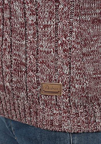 DESIRES Philipa Damen Strickpullover Zopfstrick mit Rollkragen aus hochwertiger 100% Baumwolle Meliert Wine Red Melange (8985)