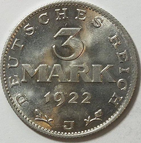 Deutsches Reich Jägernr: 303 1922 J sehr schön Aluminium 1922 3 Mark Reichsadler mit Umschrift (Münzen für Sammler)