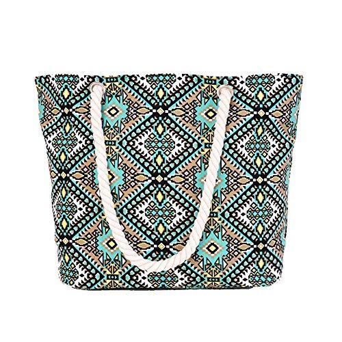 5 All Strandtasche Shopper Damen Aufdruck Muster Geometrie Karo Groß XL mit Reißverschluss (Karo-strand-tasche)