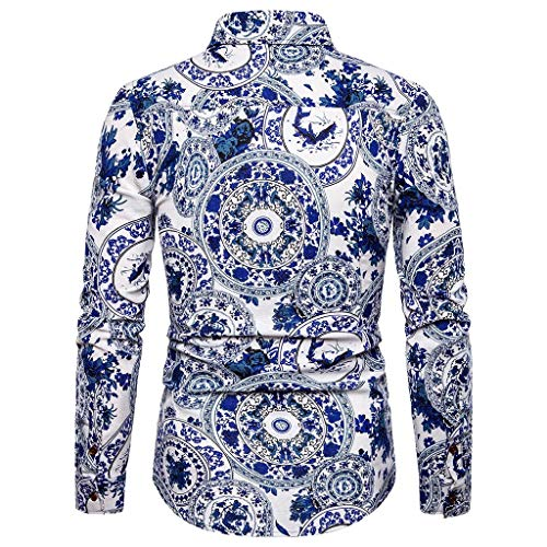 Setsail Herren Fashion-Top Business Freizeit Druck Langarm Shirt Bequemes Top Bluse -