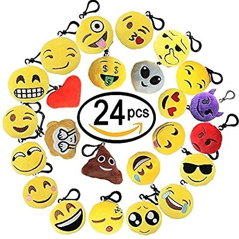 OCATO 24 Pcs Adorable Emoji Keychain Party Favors Mini Plush Pillows Party Packs for Kids and Adults