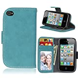 Apple iPhone 4/4S Case Leather, Ecoway Retro Scrub PU Leather Stand Function Protective Cases Covers with Card Slot Holder Wallet Book Design for Apple iPhone 4/4S - blue