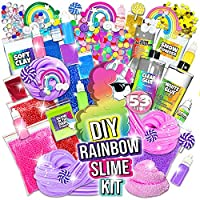 Laevo Surprise Unicorn Slime Kit- All-Inclusive DIY Slime Making Kits with 5 Secrets - Includes Glue, Activator and Magic Add ins (Rainbow Slime Kit)
