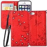 Slynmax Glitzer Schutzhülle für iPhone SE/5/5S Hülle Wallet Case Ledertasche Brieftasche Lederhülle Handyhülle Handytasche Fall Holster Klapphülle Ständer Karte Halter Magnetverschluss(Rot)