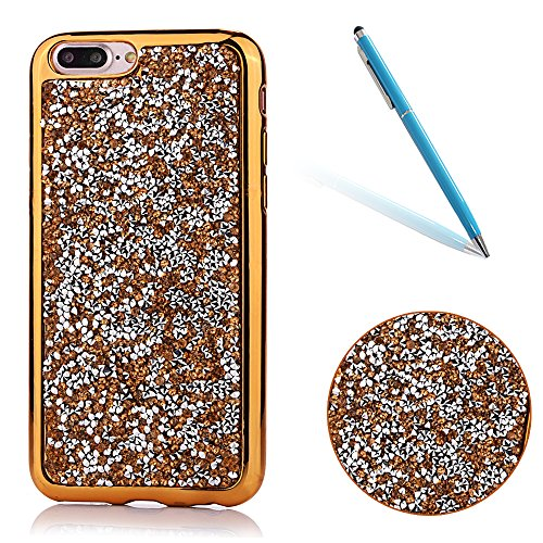 CLTPY iPhone 7Plus Hülle, iPhone 7Plus Ultradünne Glänzend Plating Handytasche mit Sparkly Bling Diamant, Weich Stoßdämpfend Silikon Fall für iPhone 7Plus + 1 x Stift - Gold-Schwarz - Eintracht-handy-fall