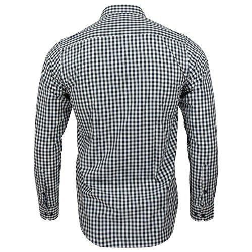 Captain Slim Fit Herren Hemden (in 24 Verschiedenen Farben) Langarm-Hemd 100% Baumwolle Navy (Kariert)