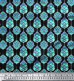Soimoi Schwarz Kunstseide Stoff marokkanisch Damast Stoff