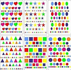 Lot gommettes autocollantes 414 carré rond c½ur oval triangle carte scrapbooking