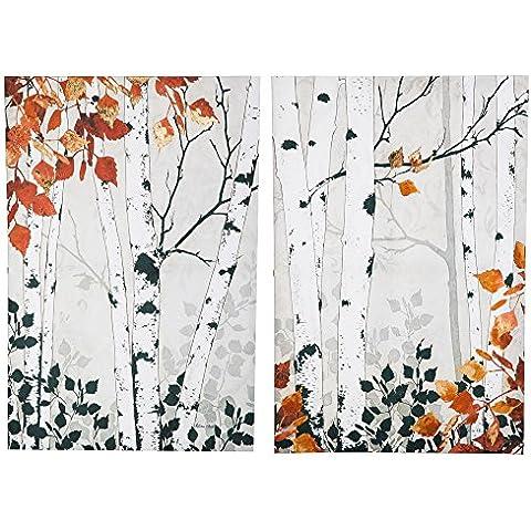 Modern caduta alberi di betulla Wall tela con oro falso set da 2