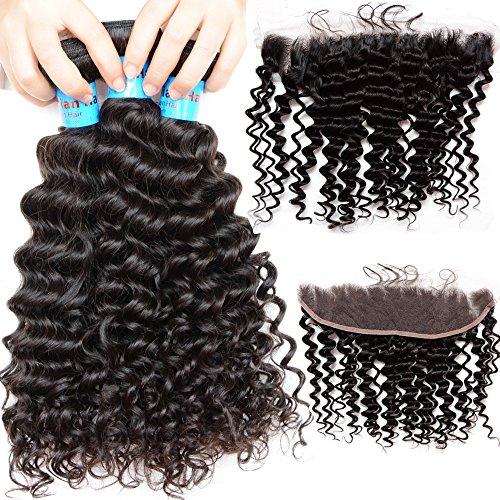 Noble Reine 13 x 4 de cheveux bouclés indien Dentelle frontale Fermeture avec Lots 10 A Deep Wave Remy Extension de cheveux Trame d'une oreille à dentelle frontale 4 pcs