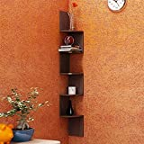 #7: Artesia Brown MDF Corner Zigzag Wall Mounted Shelf For Home Décor