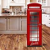 HHYS Tür Kühlschrank Schrank Abdeckung DIY Selbstklebende Abnehmbare Aufkleber Für Kühlschrank Covering Full Door Wandtattoo Flur Wandbild Britische Telefonzelle,60X180cm(23.6''X70.8'')
