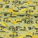 Stoffe Werning Baumwolljersey Baumaschinen gelb