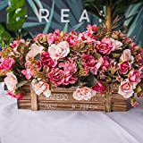 Jnseaol Künstliche Blumen Aus Seide Plastik Seidenblume Blumenschmuck Holz Topf Braut Hochzeitsblumenstrauß Für Haus Garten Party Geschenk Zum Valentinstag Geburtstag Rosa Rose