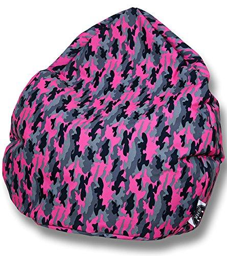 Patchhome Sitzsack Camouflage Tropfenform Pink für In & Outdoor XXL 420 Liter - mit Styropor Füllung in 5 versch. Farben und 3 Größen