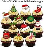 Weihnachten 12er Mix A - 12 essbare Standup Kuchen-Deko, Kuchendekorationen, essbar, Premium, 2 x A5, für 12 Bilder