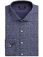 Suit Direct Simon Carter Blue Mini Paisley Shirt - SC400104 Slim Fit Formal Shirt