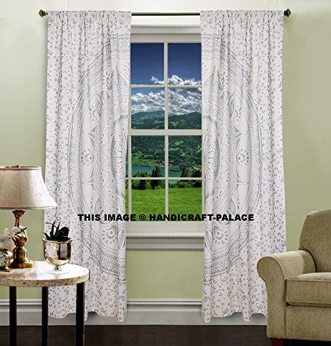 OMBRE indischen Mandala Tapisserie Silber Tür Fenster Vorhang Tuch Panel Sheer Schal Volants Fenster Behandlung, Boho Set by handicraft-palace (Ombre Sheer Panel)