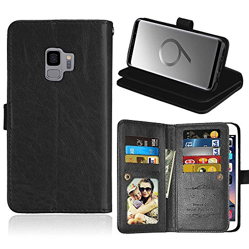 casefirst for Samsung Galaxy S9 Genuine Leather Wallet Case Cover, Flip Stand, Card Slot, Stylish, Black Luxury Wallet Case