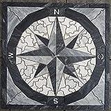 Marmor Rosone 60x60 cm Kompass Naturstein Windrose Mosaik Fliesen Einleger 066