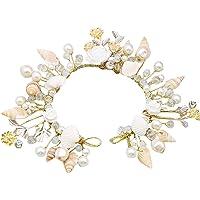 Dayiss® Braut Haarschmuck Handarbeit mit Perlen Muscheln Ktistall Hochzeit Rhinestone Brautschmuck