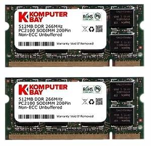 Komputerbay 1 Go (512 X 2) DDR 266Mhz PC2100 DDR266 (200 broches) pour ordinateur portable SODIMM - Mémoire