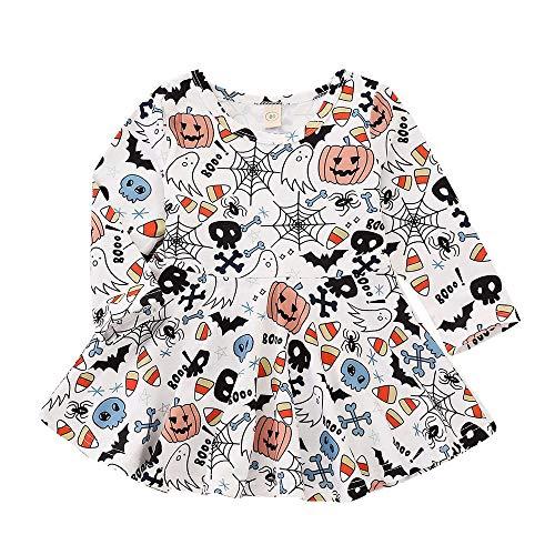 Halloween Mädchen Kostüm,Halloween Minikleid für Baby,Kinder Karneval Party Cosplay Kostüm/ 6~24 Monat/ 1~4 Jahr Alt (Weiß, 3~4 Jahr Alt)