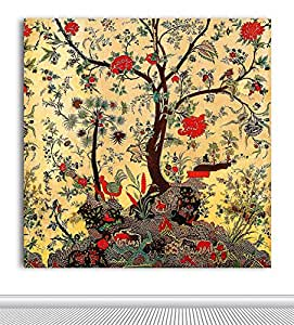 Tamatina Tree Of Life Traditional Kalamkari Painting Canvas Multicolour 23x23 Inch