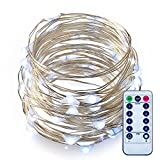 Fairy Lights Battery Operated with Remote ITART LED Starry String Lights Dimmable White Fairy Light 50LEDs/5M Copper Silver Wire Rope Lights (Pure White)